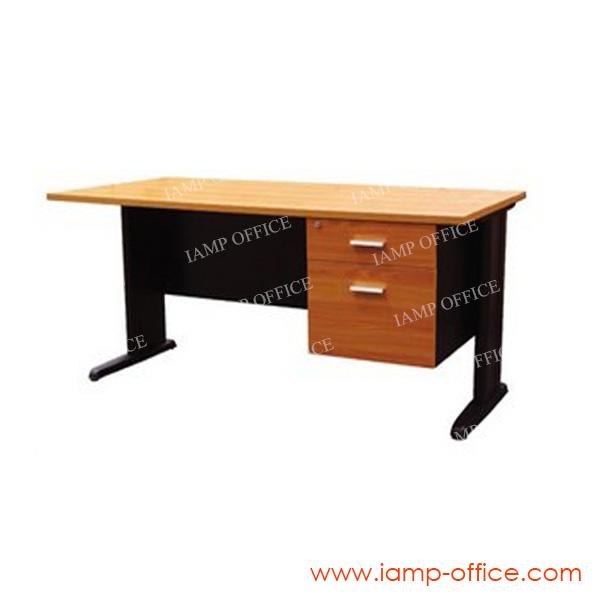 โต๊ะทำงานขาเหล็ก 2 ลิ้นชัก ขนาด 120x60x75 Cm.