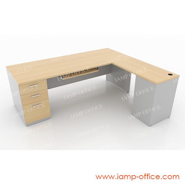 โต๊ะทำงาน 3 ลิ้นชัก และโต๊ะตัวต่อมีชั้นเก็บและถาดคีย์บอร์ด