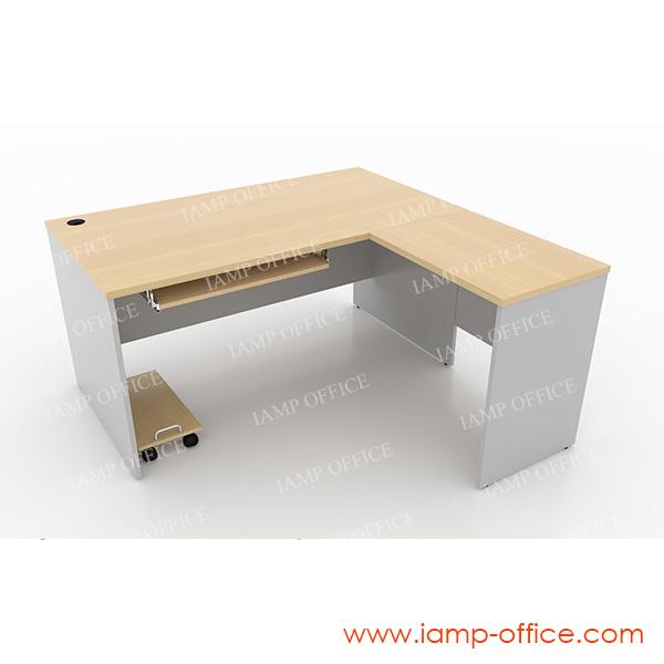 ชุดโต๊ะทำงานตัวแอลโล่ง+ถาดคีย์บอร์ด