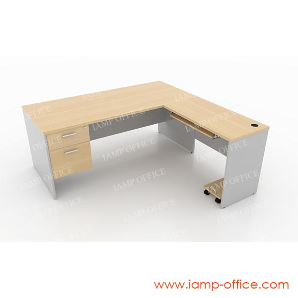 ชุดโต๊ะทำงานตัวแอล 2 ลิ้นชัก+ถาดคีย์บอร์ด