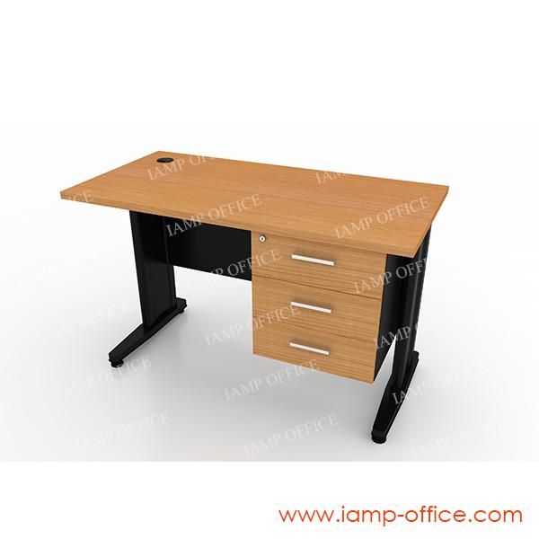 โต๊ะทำงานขาเหล็ก 3 ลิ้นชัก ขนาด 120x60x75 Cm.