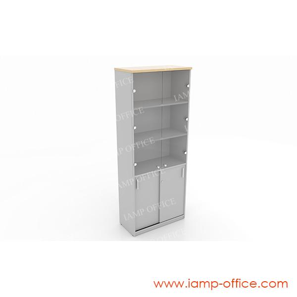 ตู้เอกสารสูงบนบานเปิดกระจก-ล่างบานเลื่อน 20 GSH