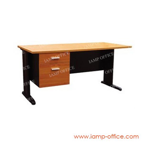 โต๊ะทำงานขาเหล็ก 2 ลิ้นชัก ขนาดความลึก 80 CM