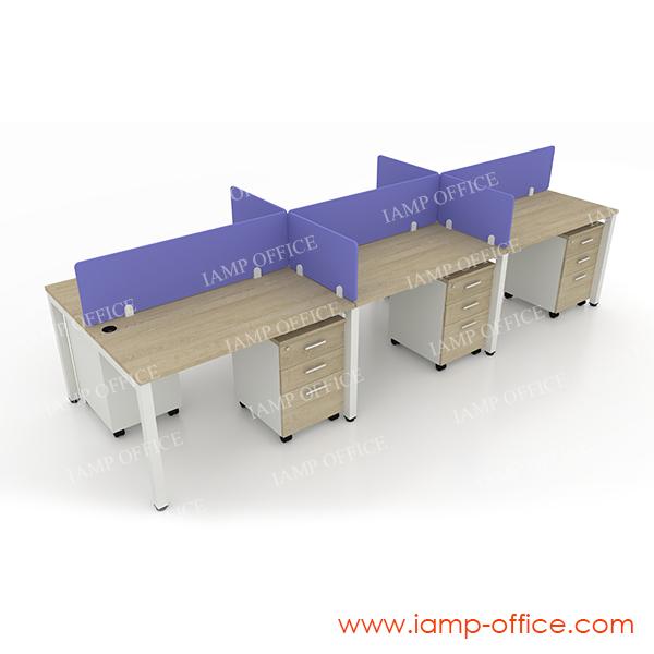 โต๊ะทำงานโล่ง 6 ที่นั่ง รุ่น AMBER-W SET C