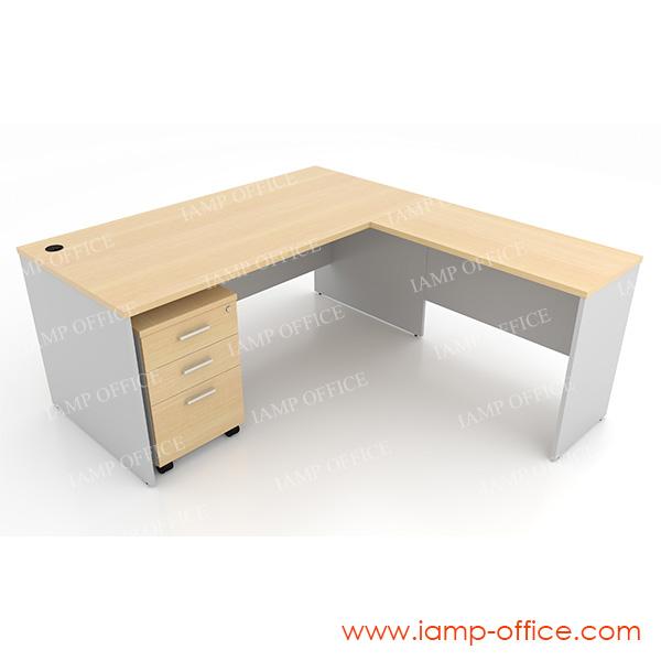 ชุดโต๊ะทำงานสำนักงานเซ็ท B ขนาด 165x180x75 Cm.