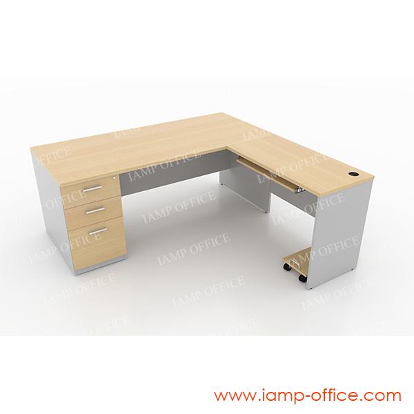 ชุดโต๊ะทำงานตัวแอล 3 ลิ้นชัก+ถาดคีย์บอร์ด