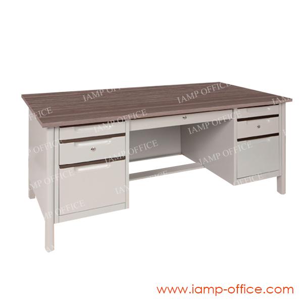 โต๊ะทำงานเหล็กท็อปไม้ มีลิ้นชัก 2 ฝั่ง