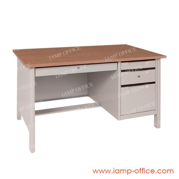 โต๊ะทำงานเหล็กท็อปไม้ มีลิ้นชัก