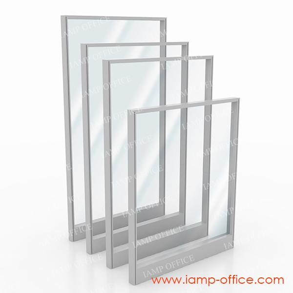 พาร์ติชั่นกระจกใสเต็มแผ่น สูง 180 Cm. แบบไม่มีกล่องไฟ / มีกล่องไฟ