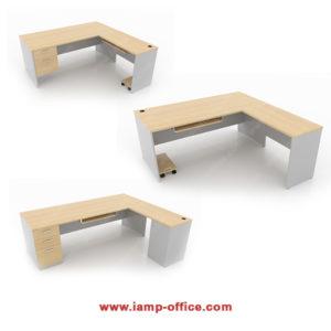 ชุดโต๊ะทำงานตัวแอล + ถาดคีย์บอร์ด (NAVARA SERIES)